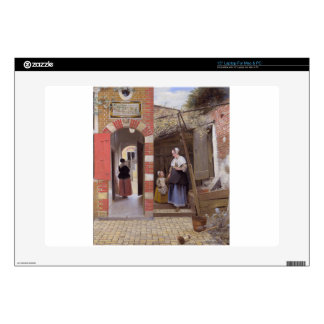 Courtyard of a house in Delft by Pieter de Hooch Decals For Laptops