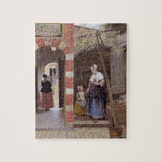 Courtyard of a house in Delft by Pieter de Hooch Jigsaw Puzzle