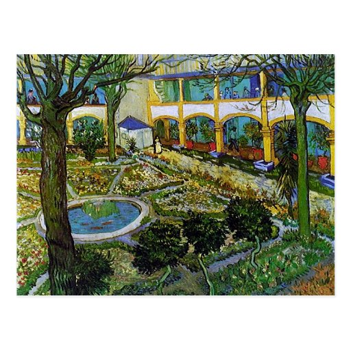 Courtyard of Hospital at Arles, Vincent van Gogh Postcard