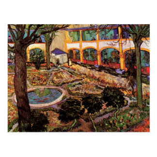 Courtyard of the Hospital at Arles by van Gogh Postcard