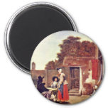 Courtyard With Two Officers And Drinking Woman By Refrigerator Magnets