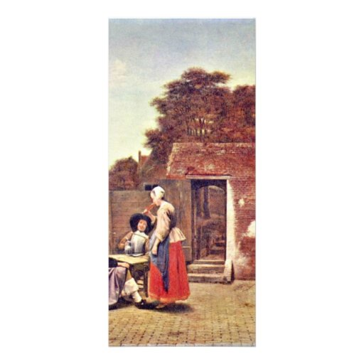 Courtyard With Two Officers And Drinking Woman By Full Color Rack Card