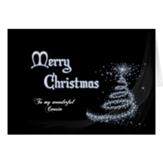 Cousin, a Black and white Christmas card