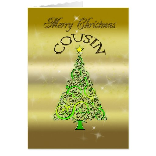 Cousin, a gold effect Christmas card