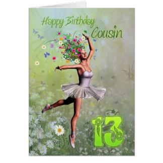 Cousin age 13, flower fairy birthday card