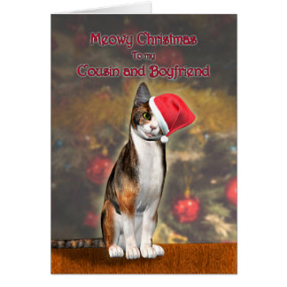 Cousin and Boyfriend a cat in a Christmas hat Cards