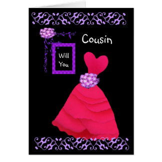 COUSIN Be My Bridesmaid with RED Gown Greeting Card