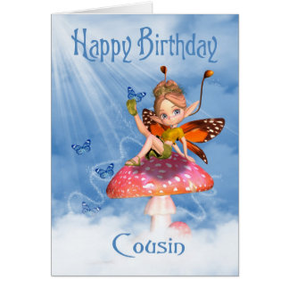 Cousin Birthday Card - Cute Fairy On A Mushroom