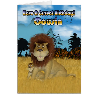 Cousin Birthday Card - Lion And Cub