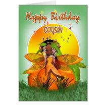 Cousin Birthday Card - Moonies Citrus Fairy - Afri