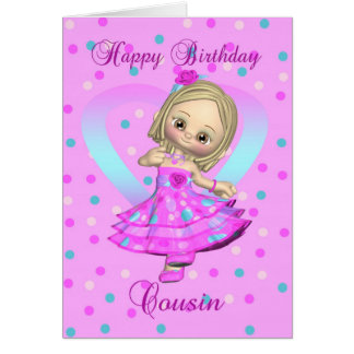cousin birthday card - pink and blue polka dot
