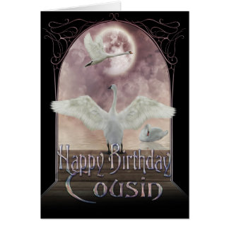 Cousin Birthday Card - Swans