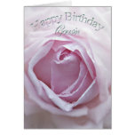 Cousin, Birthday card with a pink rose