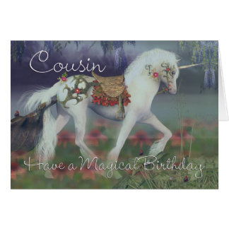 Cousin Birthday Card with Unicorn, Fantasy Birthda