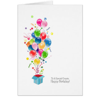 Cousin Birthday Cards, Colorful Balloons In Box Greeting Card