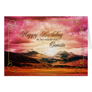 Cousin birthday Sunset over the mountains Card