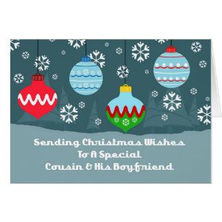Cousin & Boyfriend Vintage Ornaments Christmas Card