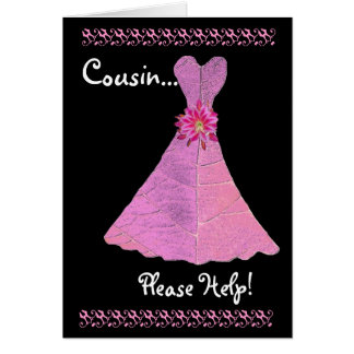 COUSIN Bridesmaid  Invitation PINK Gown V01 Greeting Card