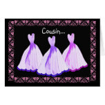COUSIN - Bridesmaid Invitation PURPLE Gowns Greeting Card