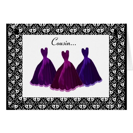 COUSIN - Bridesmaid Invitation PURPLE Gowns Cards