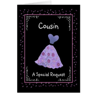 COUSIN - Bridesmaid - Purple Flowered Dress Greeting Cards