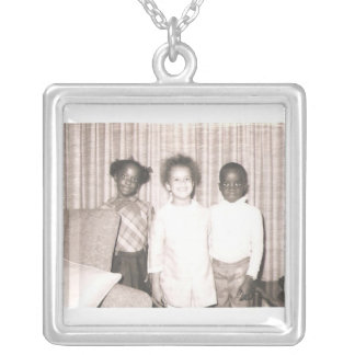 Cousin Brother & Sister Square Pendant Necklace