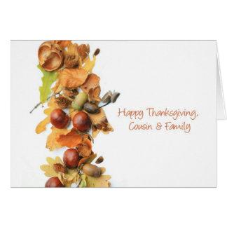Cousin & Family autumn border thanksgiving greetin Greeting Card