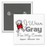 Cousin - Gray Ribbon Awareness 2 Inch Square Button