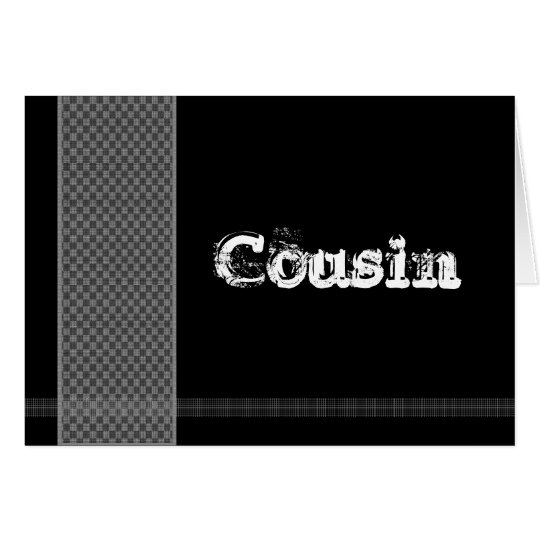 COUSIN - Groomsman - Black and Silver Checks Card