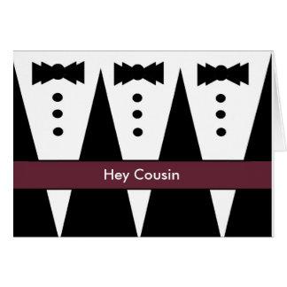 COUSIN Groomsmen Invitation with Three Tuxedos