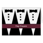 COUSIN Groomsmen Invitation with Three Tuxedos Cards