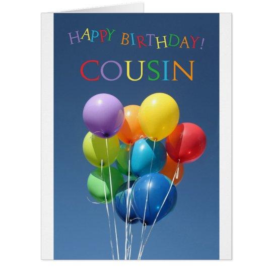 Cousin happy balloon birthday card Zazzlecom