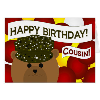 Cousin - Happy Birthday Army Soldier! Card
