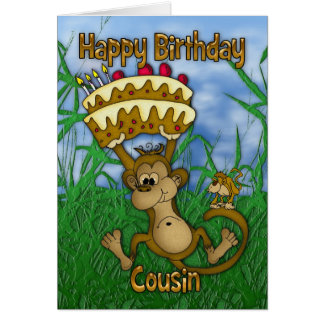 Cousin Happy Birthday with monkey holding cake Card