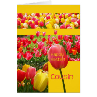 Cousin Happy Easter Tulip card