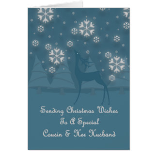 Cousin & Her Husband Reindeer Christmas Greeting Card