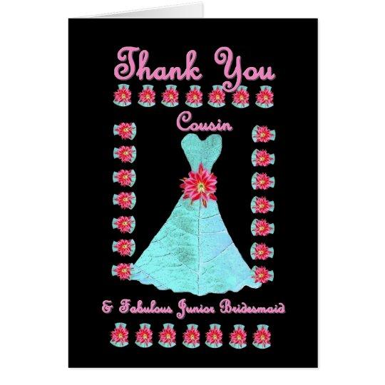 COUSIN Junior Bridesmaid THANK YOU - Blue Gown Card