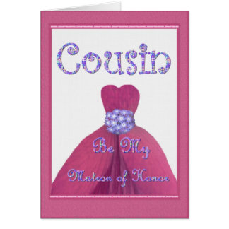 COUSIN Maid of Honor PINK Flower Petal Dress Card