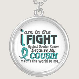 Cousin Means World To Me Ovarian Cancer Silver Plated Necklace