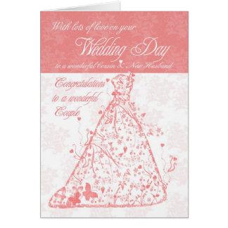 Cousin & New Husband wedding day congratulations Card