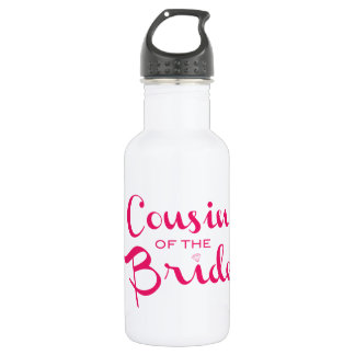 Cousin of Bride Pink White Water Bottle