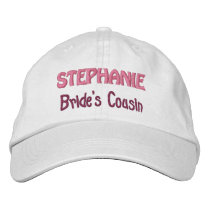 COUSIN of the BRIDE Custom Name WHITE A07F Embroidered Baseball Cap