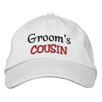 COUSIN of the GROOM Custom Name WHITE A07C7E Embroidered Baseball Cap