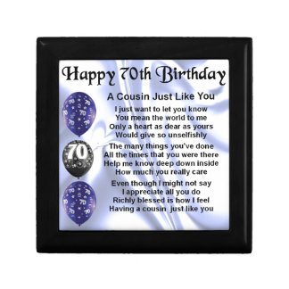 Cousin poem 70th Birthday Trinket Boxes