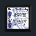 "Cousin poem 70th Birthday Keepsake Box<br><div class=""desc"">A great gift for a cousin on their 70th birthday</div>"
