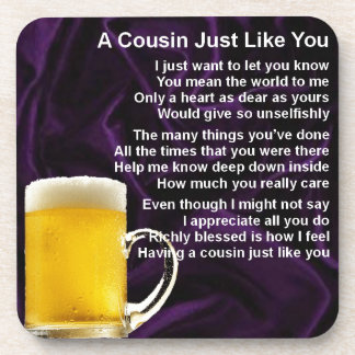 Cousin poem - Beer Design Beverage Coaster