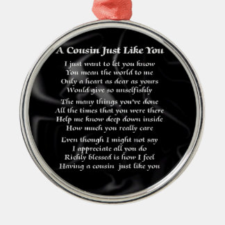 Cousin Poem - Black Silk Metal Ornament