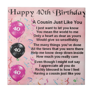 Cousins 40th Birthday Gifts On Zazzle