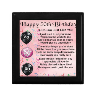Cousin Poem - Pink- 50th Birthday Jewelry Box