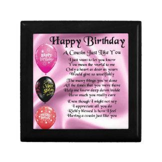 Cousin poem - pink - Happy Birthday Gift Box